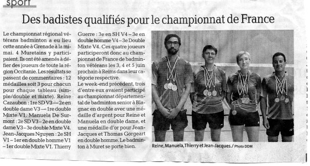 Article Dépèche - Championnat France vétérans